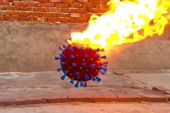 Coronavirus model made of matches - SCREENSHOT VIA TECHNICAL TECH TUBE/YOU TUBE