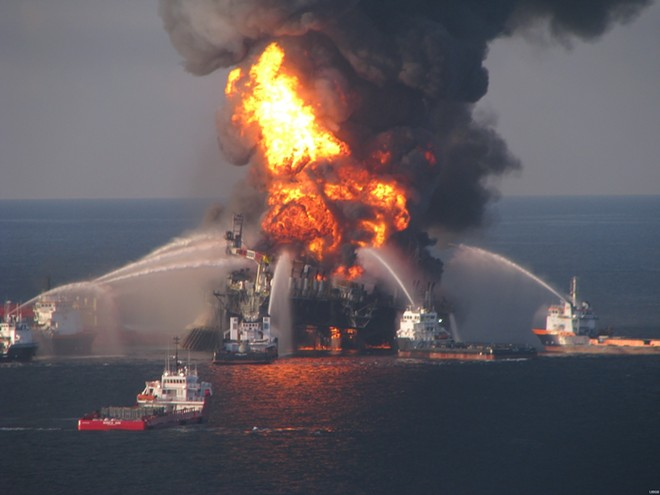 Vessels equipped with water cannons fought the devastating Deepwater Horizon fire for days. - PHOTO VIA USCG/WIKIMEDIA COMMONS