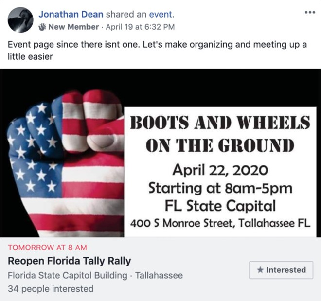 SCREENGRAB OBTAINED BY CREATIVE LOAFING TAMPA VIA REOPEN FLORIDA FACEBOOK GROUP