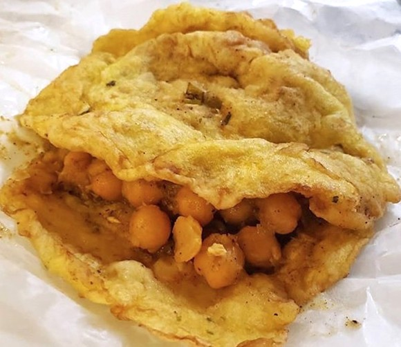 Like a lot of great dishes, Trinidadian doubles taste better than they look. - PHOTO BY FAIYAZ KARA