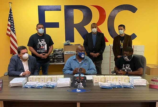 FRRC's April 29 press conference announcing donations of thousands of masks to prisons, jails and other vulnerable populations. - PHOTO VIA @FLRIGHTSRESTORE/INSTAGRAM