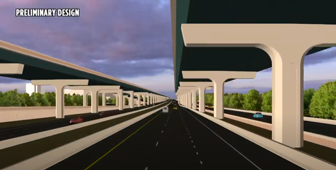 Concept art of what I-4 will look like in the area near WDW once the Beyond the Ultimate project is complete. - IMAGE VIA FDOT