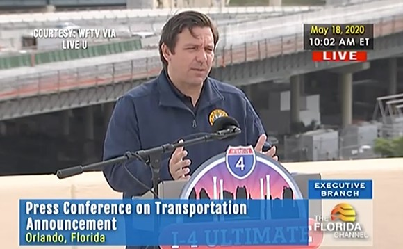 Gov. Ron DeSantis in Orlando on Monday - SCREENSHOT VIA THE FLORIDA CHANNEL