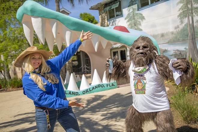 Savanah Boan with the Social Distancing Skunk Ape - PHOTO COURTESY GATORLAND