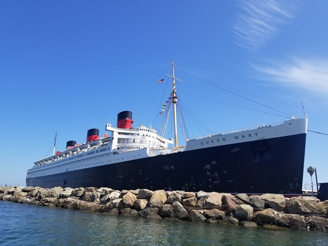 A July 2019 photo of the Queen Mary with paint chipping just months after a paint job was finished. - IMAGE VIA KEN STORY