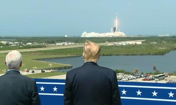 Trump watches Saturday's NASA and SpaceX launch of the Falcon 9 rocket - SCREENSHOT VIA NASA/YOUTUBE