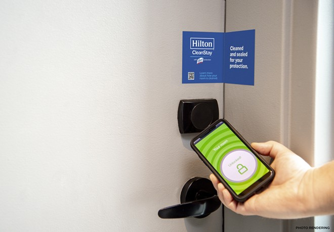 Hilton's CleanStay with Lysol includes placing a seal on the door of each suite after the room is cleaned. Also, guests can use their phones to check-in and access room keys, ensuring safe social distancing and fewer shared surfaces. - IMAGE VIA HILTON