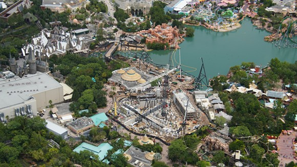 An overview of the Jurassic Park area with the coaster construction site in the middle. - IMAGE VIA BIORECONSTRUCT | TWITTER