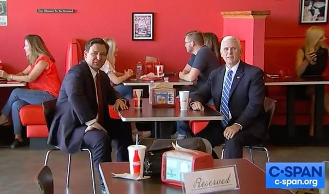 Pence visited Beth's Burger Bar with Gov. Ron DeSantis in Orlando on May 21. - SCREENSHOT VIA CSPAN