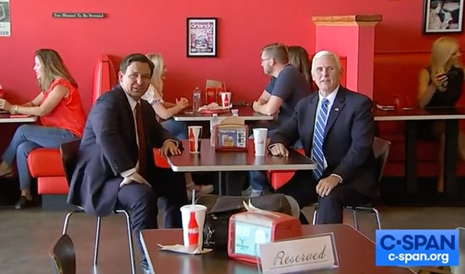 Pence visited Beth's Burger Bar with Gov. Ron DeSantis in Orlando on May 21. - SCREENSHOT VIA CSPAN