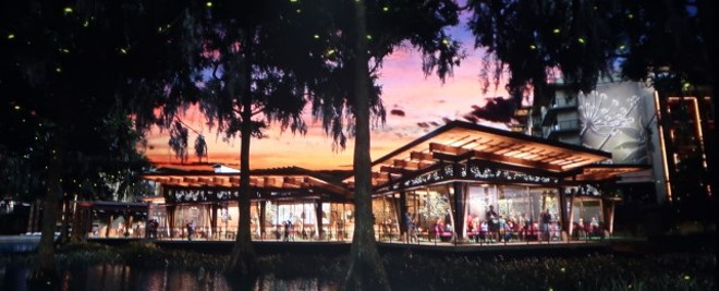 Concept art for the proposed lakefront restaurant at Reflections as shared at D23 - IMAGE VIA TIM GRASSEY | WDWTHEMEPARKS