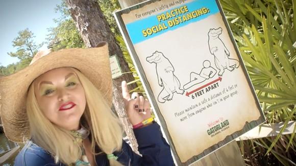 Savannah of Gatorland explains social distancing to guests - SCREENSHOT VIA GATORLAND/YOUTUBE