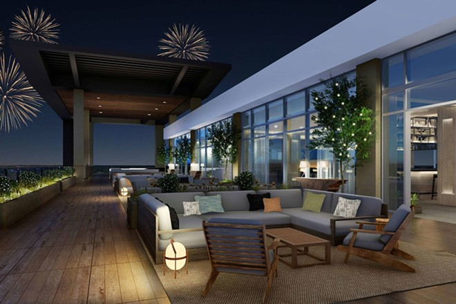 One of the rooftop terraces specifically designed for firework viewing - IMAGE VIA MARRIOTT