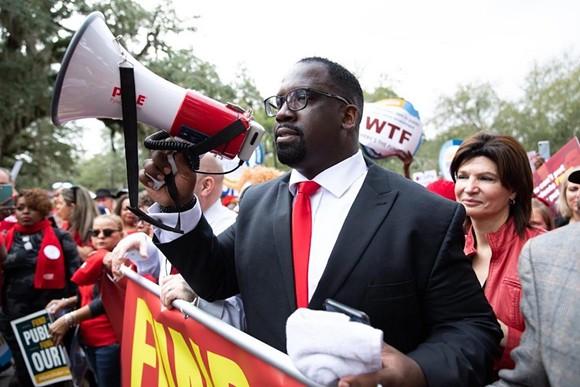 Florida Education Association President Fedrick Ingram leading a Tallahassee rally - PHOTO VIA FEA/TWITTER