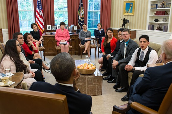 President Barack Obama and Vice President Joe Biden meet with DREAMers in the Oval Office, May 21, 2013. - PHOTO VIA THE WHITE HOUSE/FLICKR