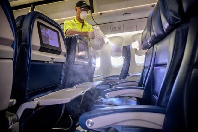 Every Delta flight is now sanitized prior to boarding using electrostatic sprayers. - IMAGE VIA DELTA