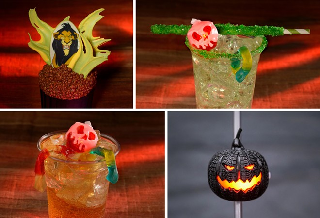 Scar Cupcake (Top left), Spooky Apple Punch Specialty Beverage (Top right), Rotten Apple Punch Specialty Beverage (Bottom left), Tire Pumpkin Novelty Straw (Bottom right) - IMAGE VIA DISNEY