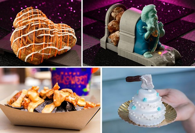 Mickey Cinnamon Roll (Top left), Cinnamon Donuts in a Hitchhiking Ghost food container (Top right), Hades Nachos (Bottom left), and Constance's For Better or For Worse Wedding Cake (Bottom right) - IMAGE VIA DISNEY