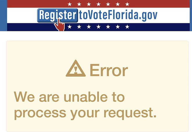 This image is from 2018, when the site also crashed. - SCREEN GRAB VIA REGISTERTOVOTEFLORIDA.GOV