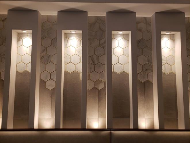 Lighting shadow boxes/hexagonal marble tile - PHOTO BY FAIYAZ KARA