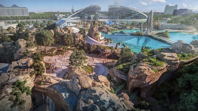 The now deleted Hetzel post shows a concept for SeaWorld Orlando that would've featured tropical landscaping and extensive rock work. - IMAGE VIA HETZEL DESIGN