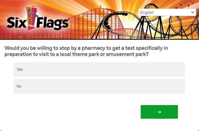 A screenshot of a question from a recent Six Flags survey regarding COVID - IMAGE VIA SIX FLAGS | QUALTRICS
