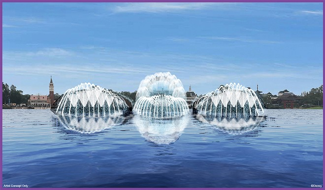 "This artist concept rendering shows how the floating platforms for ""Harmonious"" will feature daytime fountains. - IMAGE VIA DISNEY"