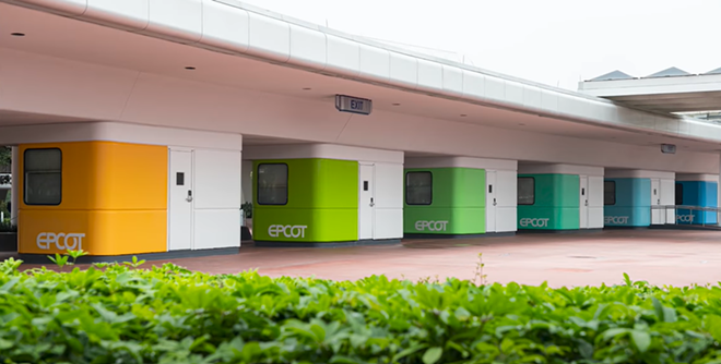 Epcot's new color scheme as seen on the ticket booths near the main entrance. - IMAGE VIA DISNEY   YOUTUBE