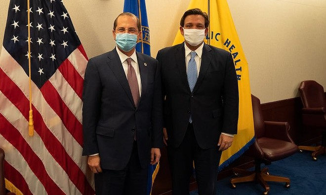 HHS Sec. Alex Azar and Ron DeSantis: One of these men will be out of a job soon - PHOTO COURTESY SECRETARY ALEX AZAR/TWITTER