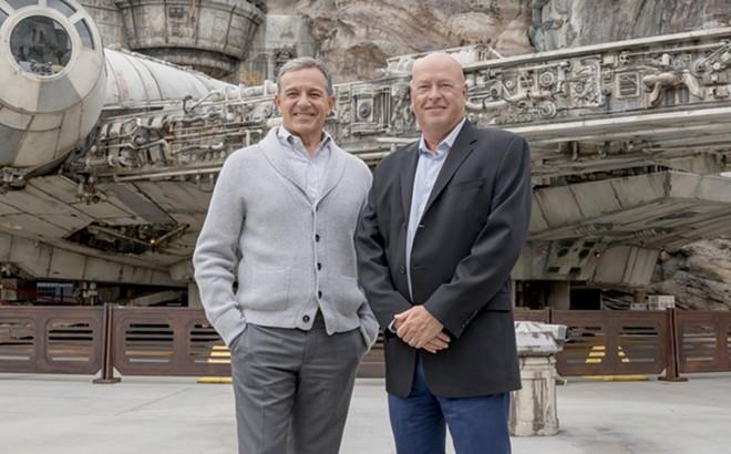 Former Disney CEO and new executive chairman Bob Iger (right) and new CEO Bob Chapek - PHOTO VIA WALT DISNEY COMPANY