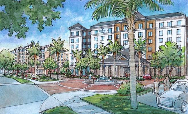 Concept art for two of the hotels at Flamingo Crossings - IMAGE VIA DORADUS PARTNERS