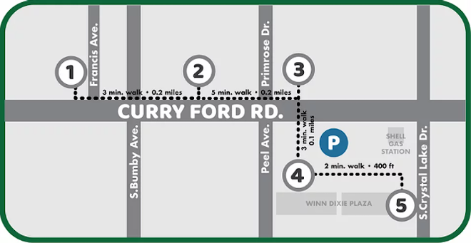 Map courtesy Curry Ford West Main Street