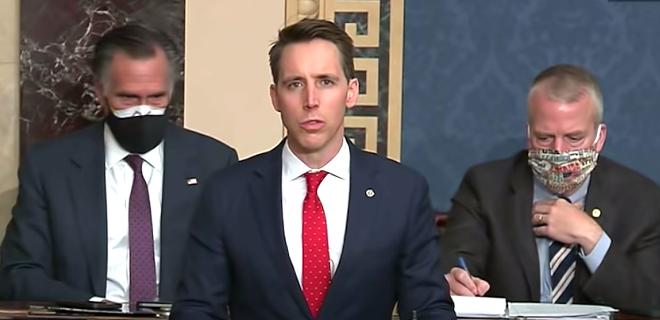 Sen. Josh Hawley giving objection speech, Sen. Mitt Romney giving death stare - SCREEN CAPTURE COURTESY SEN. JOSH HAWLEYYOUTUBE