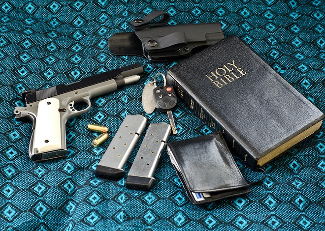 [pats pockets] Let's see: wallet, keys, 45-caliber semiautomatic pistol, extra clips, ankle holster, Good Book ... yep, ready for church - ADOBE