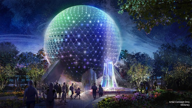 Spaceship Earth's Beacons of Magic projection show set to debut as part of WDW's 50th-anniversary celebration. The sparkling lights on the sphere are new lights that will be added to the building in the coming months. - IMAGE VIA DISNEY
