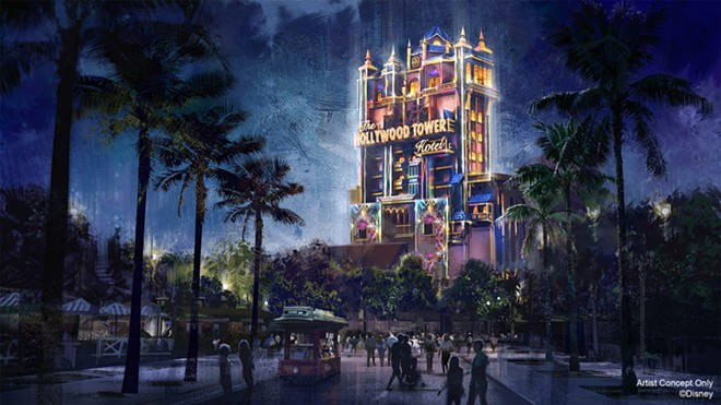 The Tower of Terror's Beacons of Magic projection show set to debut as part of WDW's 50th-anniversary celebration. - IMAGE VIA DISNEY
