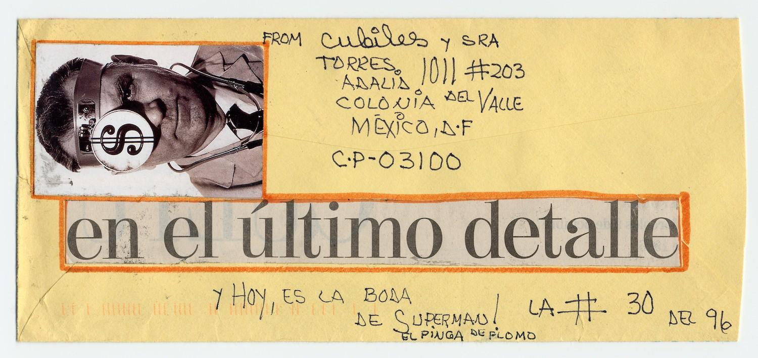 Miguel Cubiles mail art to Ramon Carulla, 1996. Ramon Carulla papers, Archives of American Art, Smithsonian Institution. - RAMON CARULLA PAPERS, ARCHIVES OF AMERICAN ART, SMITHSONIAN INSTITUTION.