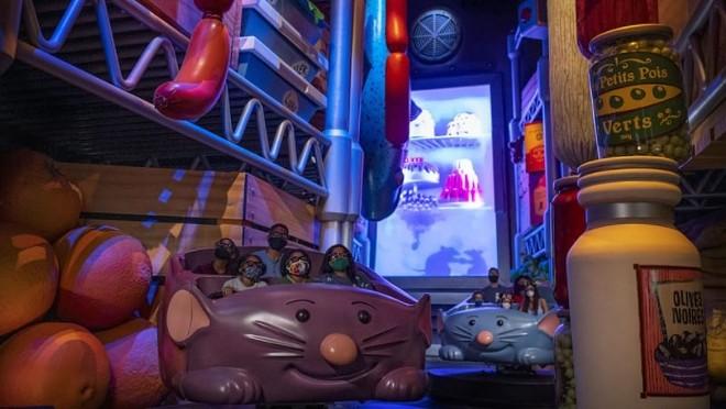 Riders on the 'Ratatouille' attraction. - PHOTO VIA DISNEY