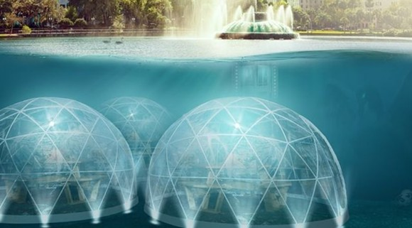 A rendering of a fictional restaurant at the bottom of Lake Eola. - PHOTO VIA INSTAGRAM/CITY OF ORLANDO