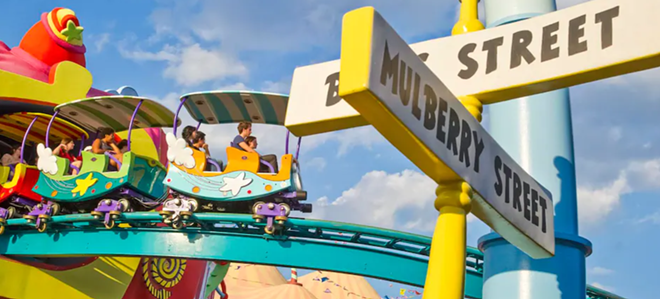 The view of The High in the Sky Seuss Trolley Train Ride in an image that is still featured, as of early April, on Universal Orlando's website. - IMAGE VIA UNIVERSAL ORLANDO