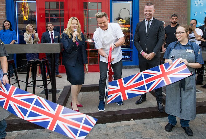 Grand opening of Gordon Ramsey's Fish and Chips in Vegas. Two second later he yelled at everyone. - PHOTO COURTESY ALLIED GLOBAL MARKETING