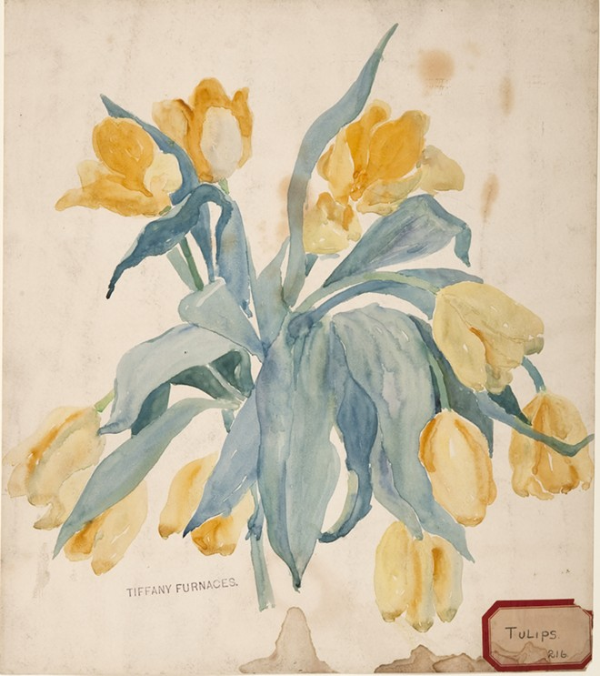 Tulips, c. 1901. Watercolor, graphite on paper; Lillian A. Palmié, American, 1873–1944; 15 x 13 in. (80-008). - COURTESY OF THE CHARLES HOSMER MORSE MUSEUM OF AMERICAN ART, WINTER PARK, FL.