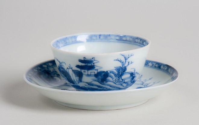 "Unknown maker, Chinese, the ""Nanking Cargo"" from the Geldermalsen (a cargo ship with the Dutch East India Trading Company), Riverscape pattern, tea bowl and saucer, 2 in. (5 cm) in height, porcelain, gift of Dr. Benjamin L. Abberger Jr. and Nancy Hardy Abberger Collection, c. 1752. - COURTESY OF THE CHARLES HOSMER MORSE MUSEUM OF AMERICAN ART, WINTER PARK, FL."