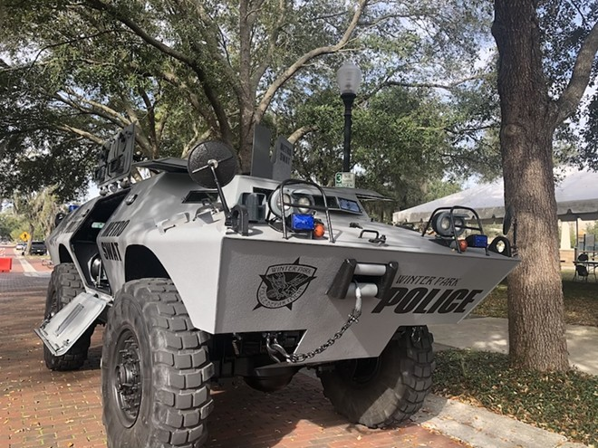Is it really necessary for the Winter Park Police Department to own an armored personnel carrier? - PHOTO BY JESSICA BRYCE YOUNG