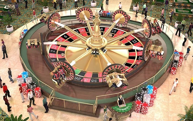 The Unicoaster concept, seen here with a casino-themed overlay. - IMAGE VIA US THRILLRIDES LLC