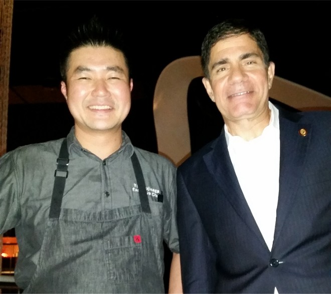 Morimota Asia executive chef Yuhi Fujinaga and master sommelier George Miliotes