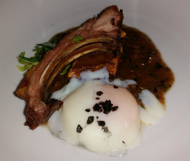 Slow-roasted crispy baby pig, black bean trotter jus, hot spring jidori egg (paired w/Selbach-Oster Riesling, Germany)