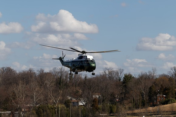 Trump arriving at CPAC last week in Marine One - PHOTO VIA MICHAEL VADON/FLICKR