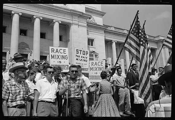 A rally against integration in Little Rock at the state capitol in 1959. - PHOTO VIA LIBRARY OF CONGRESS