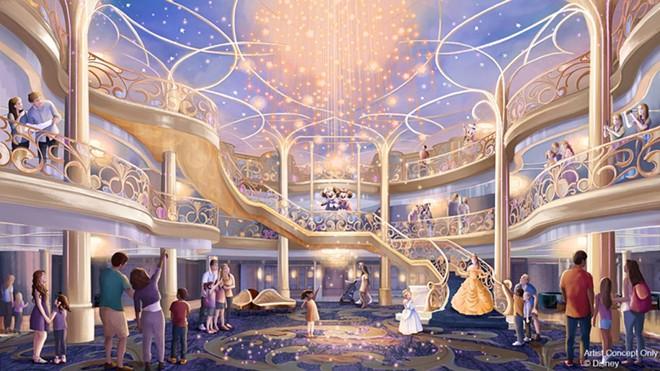 The Grand Hall on the Disney Wish - IMAGE VIA DISNEY